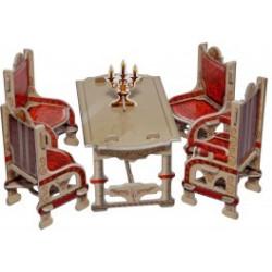 Comedor, gris. Puzzle 3D de Montaje. Serie de casas de muñecas. Marca Clever Paper. Ref: 142592.
