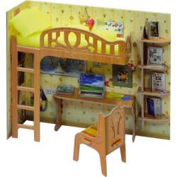Escriterio escolar. Puzzle 3D de Montaje. Serie de casas de muñecas. Marca Clever Paper. Ref: 14263.