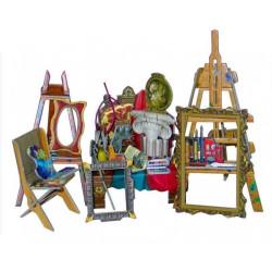 Sala de pintura. Puzzle 3D de Montaje. Serie de casas de muñecas. Marca Clever Paper. Ref: 14275.