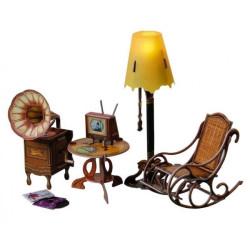 Sala de estar. Puzzle 3D de Montaje. Serie de casas de muñecas. Marca Clever Paper. Ref: 14279.
