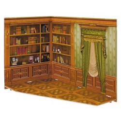 Biblioteca. Puzzle 3D de Montaje. Construcción de casas de muñecas, seire Rumboksy. Marca Clever Paper. Ref: 142913.