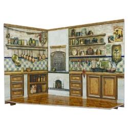 Cocina. Puzzle 3D de Montaje. Construcción de casas de muñecas, seire Rumboksy. Marca Clever Paper. Ref: 142914.