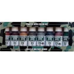 Set Panzer Aces Nº1 (Óxido, Orugas, caucho,...) 8 colores. Bote 17 ml. Marca Vallejo. Ref: 70122.