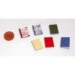 Cuaderno espiral toile azul. Accesorio para casas de muñecas. Escala 1:12.