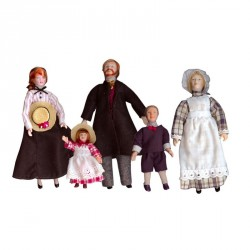 Familia 5 personajes en porcelana. Marca Chaves. Ref: 37001.