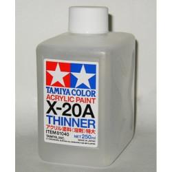 Acrylic Thinner, Disolvente Acrilico (81040). Bote 250 ml. Marca Tamiya. Ref: X-20A.