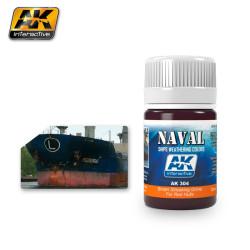 Naval weathering, Efecto suciedad marrón escurrida en los cascos rojos. Bote de 35 ml. Marca Ak Interactive. Ref: Ak304.