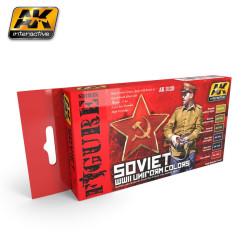 Set colores para uniformes soviéticos WII. Marca AK Interactive. Ref: AK3120.