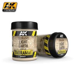 Producto weathering, Efecto tierra ligera, ( Terrains light earth ). Bote de 250 ml. Marca AK Interactive. Ref: AK8021.