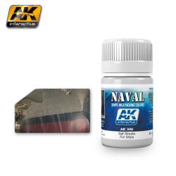 Naval weathering, Efecto chorretones de sal para barcos. Bote de 35 ml. Marca Ak Interactive. Ref: Ak306.