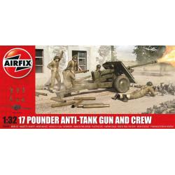 Anti-tanque 17 Pdr, británico de la WWII. Escala 1:32. Marca Airfix. Ref: A06361.