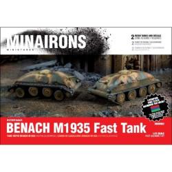 Tanque rápido Benach M1935, contiene 2 carros y sus calcas. Escala 1:72. Marca Minairons miniatures. Ref: 20IGV002.