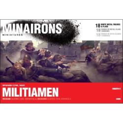 Milicianos. Contiene 18 figuras metal blanco y banderas. Escala 1:72. Marca Minairons miniatures. Ref: 20GEF012.