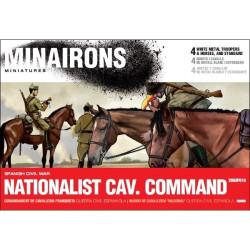 """Mando de caballeria """" Nacional"""". Contiene 8 figuras metal blanco. Escala 1:72. Marca Minairons miniatures. Ref: 20GEF010."""