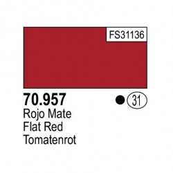 Acrilico Model Color, Rojo mate, ( 031 ). Bote 17 ml. Marca Vallejo. Ref: 70.957.