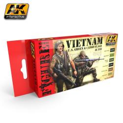 Set de colores para uniformes de US. en Vietnam verde y camuflaje. Marca AK Interactive. Ref: AK3200.