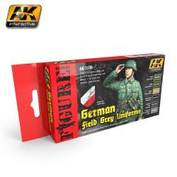Set de colores para uniformes grises del campo alemán. Marca AK Interactive. Ref: AK3140.