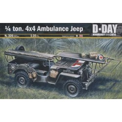 Vehículo Jeep ambulancia, 1/4 Ton 4x4.  Escala 1:35. Marca Italeri. Ref: 326.