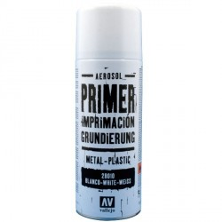 Surface Primer, Imprimación Blanco. Spray 400 ml. Marca Vallejo. Ref: 28010.