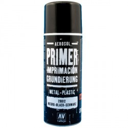 Surface Primer, Imprimación Negro. Spray 400 ml. Marca Vallejo. Ref: 28012.