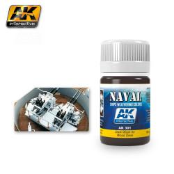 Producto naval weathering, Lavado oscuro para cubiertas de madera. Bote de 35 ml. Marca AK Interactive. Ref: AK301.