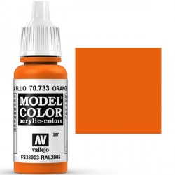 Acrilico Model Color, Naranja fluorescente, ( 207 ). Bote 17 ml. Marca Vallejo. Ref: 70.733.