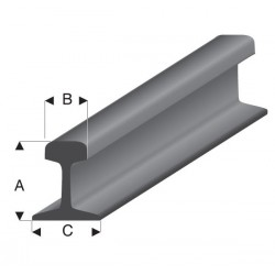 """Perfíl """" rail """" de Estireno gris acero, A: 2.40 mm, B: 1.35 mm, C: 2.10 mm, L: 100 cm. Marca Maquett. Ref: 460-52."""