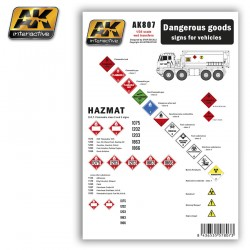 Calcas Dangerous goods sings for vehicles. Escala 1:35. Marca AK Interactive. Ref: AK807.
