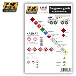 Calcas Dangerous goods sings for vehicles. Escala 1:35. Marca AK Interactive. Ref: AK807.
