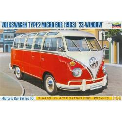 Wolkswagen Type 2 Micro bus, 1963.  Escala 1:24. Marca Hasegawa. Ref: 21210.