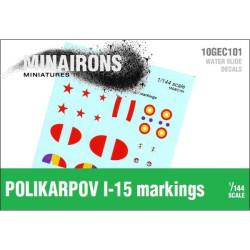 Calcomanías de distintivos de Polikarpov I-15. Escala 1:144. Marca Minairons miniatures. Ref: 10GEC101.