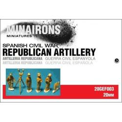 Artillería republicana. Contiene 4 figuras metal. Escala 1:72. Marca Minairons miniatures. Ref: 20GEF003.