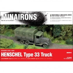 Camión Henschel Tipo 33. Contiene 1 modelo en resina y metal blanco. Escala 1:72. Marca Minairons miniatures. Ref: 20GEV015.