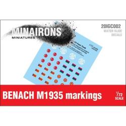 Calcomanías de distintivos del Benach M1935. Escala 1:72. Marca Minairons miniatures. Ref: 20IGC002.
