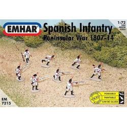 Figuras de Infanteria española,  ( 1807-14 ). Escala 1:72.  Marca Emhar. Ref: EM7215.