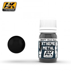 Xtreme Metal, black base. Contiene 35 ml. Marca AK Interactive. Ref: AK471.