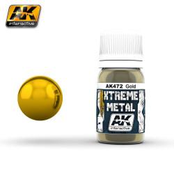 Xtreme Metal, Gold. Contiene 30 ml. Marca AK Interactive. Ref: AK472.