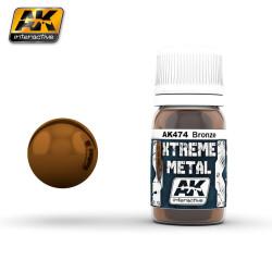 Xtreme Metal, bronze. Contiene 35 ml. Marca AK Interactive. Ref: AK474.
