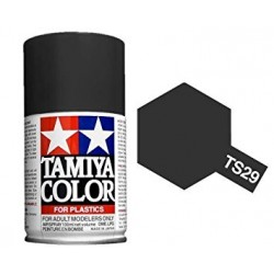 Spray Semi Gloss Black, negro satinado (85029). Bote 100 ml. Marca Tamiya. Ref: TS-29.