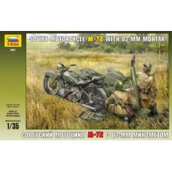 Figuras Soviet Motocicleta M-72 con mortero 82-MM. Escala 1:35. Marca Zvezda. Ref: 3651.