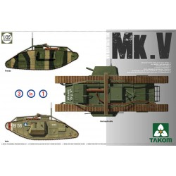 Heavy battle tank Mark V Male Hermaphrodite Female 3 in 1, WWI. Escala 1:35. Marca Takom. Ref: 2034.