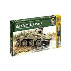 Tanque Sd. Kfz. 234/2 Puma. Incluye pincel, pegamento y pintura. Escala 1:56. Marca Italeri. Ref: 15653.