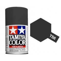 Spray Matt Black, negro mate (85006). Bote 100 ml. Marca Tamiya. Ref: TS-6.