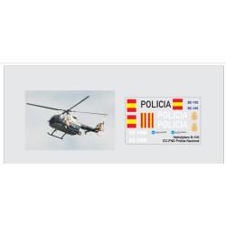Calcas del helicóptero BO-105, Policia Nacional. Escala 1:72. Marca Trenmilitaria. Ref: 000_4486.