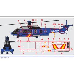 Calcas del helicóptero Superpuma Eurocopter EC-ELN, Policia Nacional. Escala 1:72. Marca Trenmilitaria. Ref: 000_3453.