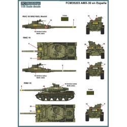 Calcas AMX-30 en España, AMX-30E, AMX-30EM. Escala 1:35. Marca Fcmodeltips. Ref: 35203.