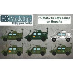Calcas para el LMV Lince en España. Escala 1:35. Marca Fcmodeltips. Ref: 35214.