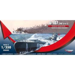 Submarino alemán U-107 (IXB turm I) NIEMIECKI OKRĘT PODWODNY. Escala: 1:350. Marca: Mirage. Ref: 350503.
