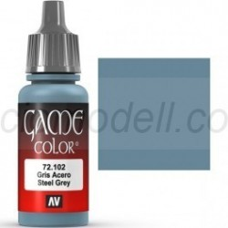 Acrilico Game Color, Gris Acero. Bote 17 ml. Marca Vallejo. Ref: 72.102.