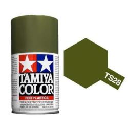 Spray oliva verde, olive drab 2, 85028. Bote 100 ml. Marca Tamiya. Ref: TS-28.